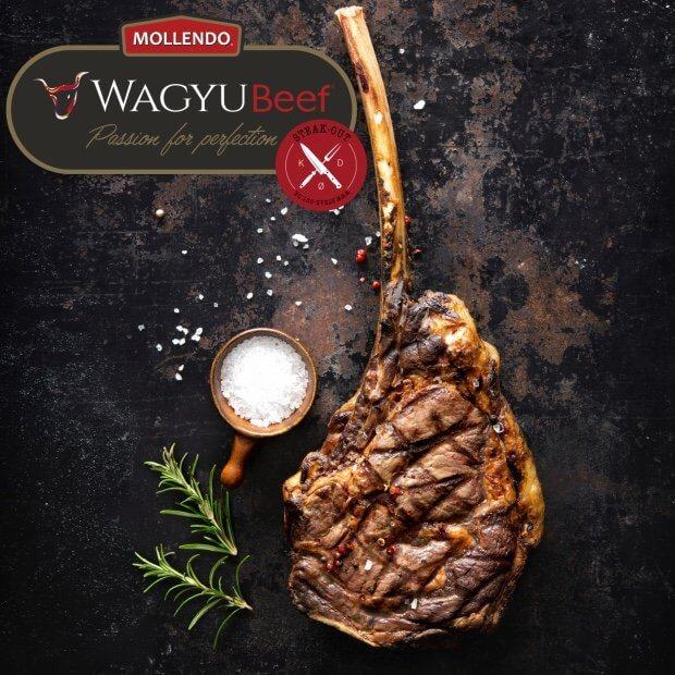 Tomahawk steak. Mollendo Wagyu MBS. 5+
