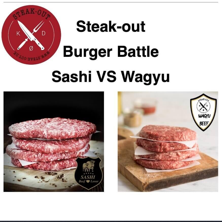 Steak-out Burger Battle. Sashi VS Wagyu. 1.6 kg