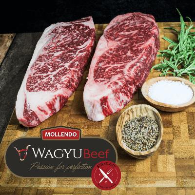 Striploin steaks. 2 stk. Mollendo Wagyu. Mbs 5+